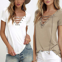 Wholesale Trendy Tee Shirts - Wholesale- 6 Colors Trendy T-Shirt V-neck Criss Cross Women T Shirt Summer Style Short Sleeve Tops Hollow Out Top femme top tee tshirt