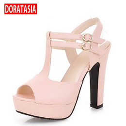 Wholesale Low Heeled Shoes Price - Wholesale-Low Price 2016 Open Toe high-heeled Shoes Thick Heel Platform women's Hasp Formal Sandals Plus Size Available Small