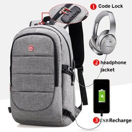 Wholesale external charges - 2017 New External USB Charge canvas Bag Men Notebook Backpack Waterproof Women 14inch Laptop School Backpack Men Unisex Mochali