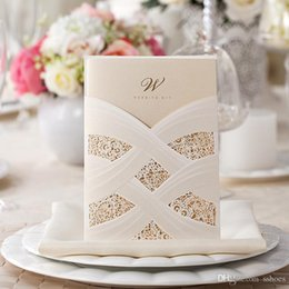 Wholesale Wedding Invitations Cards - Personalized Lace Hollow Wedding Invitation Free Printing Inner Sheet 18cm*12.7cm Laser Cut Wedding invitation Cards