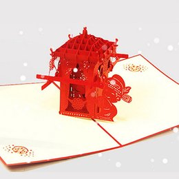 Wholesale Chair Card - (10 pieces lot)Free Shipping Handmade 3D Pop Up Cards Chinese Asian Style Red Bridal Sedan Chair for Marriage Greeting Cards