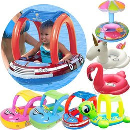 Wholesale floating boat - baby swim ring inflatable outdoor swim pool New Sunshade Baby Infant Float Seat Car Boat Inflatable Swim Ring Pool