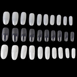 Wholesale Round Oval Nails - 500 PCs Oval Full Round Acrylic French False Fake Nail Tips White Natural Clear