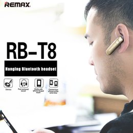 Wholesale Sports Car Mobile Phones - Remax T8 4.1 Car Driver Earhook Stereo Sport Bluetooth earphone with Mic Handsfree headset for iphone samsung huawei mobile Phone for Xiaomi