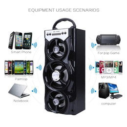 Wholesale Wireless Loudspeakers Stereo - MS-220BT Wireless Portable Bluetooth Speaker FM Radio Loudspeaker Supports AUX Stereo TF Card LED Shinning for MP3 800mAh 10W