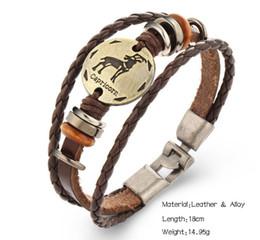 Wholesale Libra Chain - Fashion Constellation Bangles Scorpio libra aries virgo Sagittarius Capricorn Aquarius Pisces Gemini Leo Taurus Leather Bracelet Men Jewelry