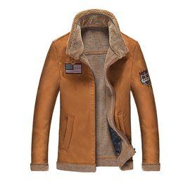 Wholesale Suede Jacket Fur Collar - Fall- New Fashion Leathet jacket men Stand Collar Suede fur Warm Autumn Winter motorcycle jacket men Coat plus size 4XL