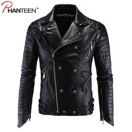 Wholesale Rivet Motorcycle Clothing - Wholesale- Phanteen High Quality Punk Man Jackets Skull Rivet Pu Faux Leather Autumn Motorcycle Jackets Fashion Men Clothing Plus Size 5XL