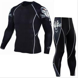 Wholesale Leggings Pants Free Shipping - Free shipping Men T-shirt + Pants Men Fitness Mens Joggers Compression Pants Male Trousers Bodybuilding Tights Leggings