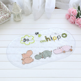 Wholesale pvc bath mats - Bath Mat Animal World Cartoon Pattern Non Slip Anti Bacterial PVC Rubber Suction Foot Massage Shower Pad 10zc J R