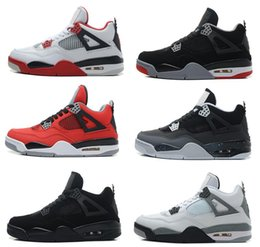 Wholesale Retro White Cement - Cheap Air retro 4 IV Men Basketball shoes Military Blue Pure Mars Thunder bred Oreo Fire Red White Cement Shoes Free Shipping