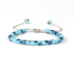 Neue Design Mode Sommer Schmuck Großhandel Mix Farben 6mm Kristall Jade Quadrat Perlen Macrame Günstige Flechten Armbänder von Fabrikanten