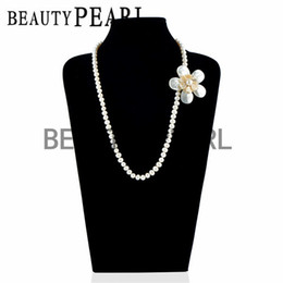 Wholesale Pearl Necklace Brooch - Wedding Bridal Women Pearl Jewelry Flower White Shell Brooch 8-9mm Potato Freshwater White Pearls Strand Necklace