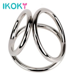 Wholesale Three Cock Rings - IKOKY Penis Rings Stainless Steel Male Chastity Device Cock Rings Sex Toys for Men Male Delay Ejaculation Three Cock Cages