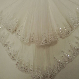 Wholesale Elbow Length Lace Veil - New 1.5 Meters Two Layers Sequined Lace Short Bridal Veil White Ivory Wedding Veils 2017 Voile Mariage Wedding Accessories CPA860