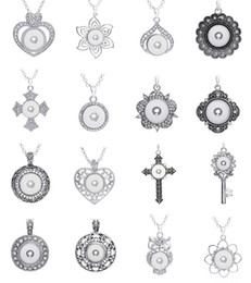 Wholesale Tin Jewelry Cross - New 20PCS Lot Different Style Snap Charm Pendant Necklace Interchangeable Fit 18mm Ginger Snap Chunk Charm jewelry With 60cm Metal Chain