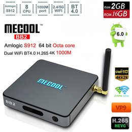 Wholesale 2gb Android Hd Player - Mecool BB2 Amlogic S912 Octa Core TV Box Android 6.0 Marshmallow 2G 16G 2.4&5G WiFi Bluetooth H.265 4K 1000M LAN Media Player VS S905X