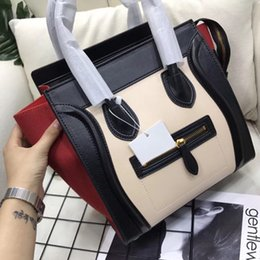 Wholesale Top Leather Handbags Brands - Trapeze bag women luxury brand top-handle tote bags color patchwork shoulder bags famous designer leather suede handbags Smiley bag fashion