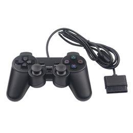 controlador de juego para ps2 Rebajas Hot Sales con cable de doble vibración Shock Controller Gamepad Compatible para Playstation 2 PS2 Videoconsola consola negro DHL libre