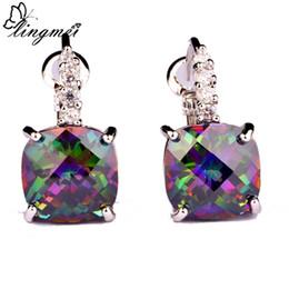 Wholesale mystic earrings - lingmei Free Shipping Women's Party Fashion Jewelry Mystic Rainbow Topaz & White Sapphire Dangle Hook Silver Earring Wholesale