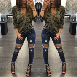 Wholesale Camouflage V Neck - 2016 Brand New Free Shipping Camouflage Hollow Out Long Sleeve Lace Up Casual Style Cool Women T-shirt