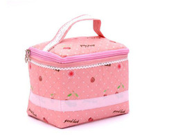 Wholesale Laminated Bag Wholesale - Women travel makeup storage tote bag laminated non-woven lace cherry pink cosmetic make up bag organizer