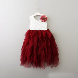 Wholesale Wholesale Luxury Ball Dresses - 2017 ins Summer Kids Girls Lace tutu Dresses Baby Girl Princess Luxury Wedding Party Dress with floral brooch kids clothing
