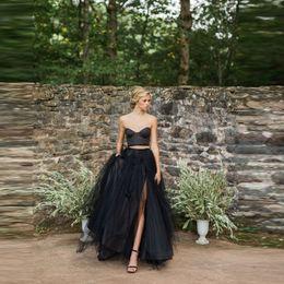 Wholesale Maternity Maxi Skirts - 2017 New Arrival Black Slit Tulle Skirt Trendy Floor Length Long Sexy Split Maxi Skirt Personalized A Line Full Skirts