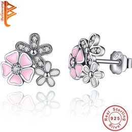 Wholesale Earring Stud Mix - BELAWANG Wholesale Real 925 Sterling Silver Poetic Daisy Cherry Blossom Stud Earrings Mixed&Clear CZ Pink Flower Women Engagement Jewelry