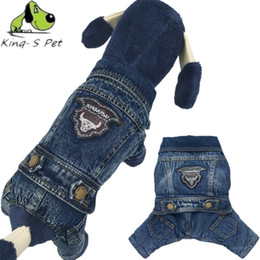 Wholesale Dog Cowboy Costumes - KING-S PET Cowboy Jean Dog Coat Jacket With OX Head Print Solid Costume All Seasons Dogs Clothes Coat Four Leg Clothing For Dog