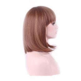Wholesale medium length straight hair wigs - WoodFestival women synthetic hair wigs heat resistant synthetic fiber wig 35cm short brown wig medium length shoulder-length straight hair