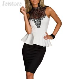 Wholesale High Neck 29 - Wholesale- 2016 New Plus Size Women Lace Dress Fashion Office Lace High-Necked Peplum Bodycon Work Sexy Lady Clothing Sleeveless 29 6886
