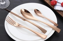 Wholesale Yellow Cutlery - Dinnerware Set Stainless Steel Cutlery Set 4 Pieces Gold Knife Fork Set Tableware Gold Cutleries