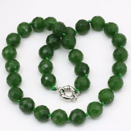 Wholesale Jewelry Delivery China - Free delivery 12mm faceted round beads chain necklace Taiwan natural stone green jade jasper choker charm statement women jewelry