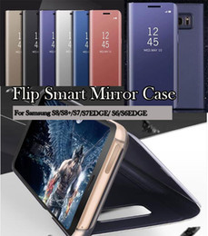 Wholesale Galaxy Wallet Cases - For Samsung Galaxy 2018 A7 A5 A8 A8Plus S7 Edge S8 Plus Note8 C10 Luxury Clear View Flip Case Chrome Mirror Phone Hard Stand Cover