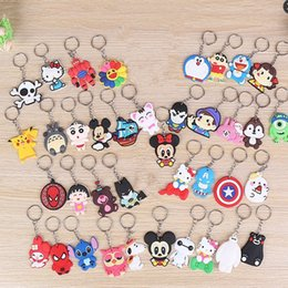 Wholesale Men Girl Beautiful - Mixed lot diy Hot beautiful soft PVC silicone Keychain cute cartoon anime gift key pendant rubber Key chain Ring CC509