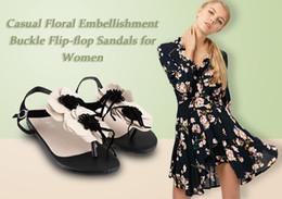 Wholesale Floral Embellishments - Casual Floral Embellishment Buckle Ladies Flip-flop Sandals Sexy Translucent Lace Summer Shoes Ladies Sandals Women Shoes Elegant Shoes+B