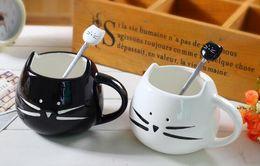 Wholesale Unique Ice - New Stainless Steel Cartoon spoons cat ceramic spoons Unique Ice Cream Flatware Kitchen Tool black white
