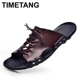 Wholesale Korean Summer Shoes Men - Wholesale-Free shipping 2016 summer new Korean men's leather sandals Strange shoes dragging the word male Sandals & Flip Flops