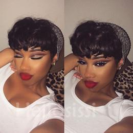 Wholesale Hair Cut Machines - top machine made none lace bob human short pixie hair wig Rihanna Chic cuts Short Straight Human Pixie Hair Wigs For Women