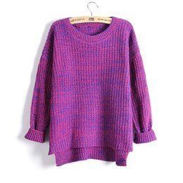Wholesale Oversized Sweater Free Shipping - Spring Women Mixed Color Wool Plus Size Oversized Loose Knitted Pullover Jumper Sweater O-Neck Long Sleeve Fashion Free Shipping