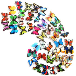 Pvc pins online-4.5 CM simulación única mariposa Refrigerador stick / pins 3d mariposas pvc extraíble pegatinas de pared decoración de las mariposas I039