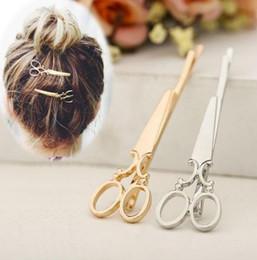 Wholesale Novelty Scissors - Novelty Scissor Shaped Hair Clips Silver Gold Tone Headwear Hair Barrettes Clip Metal Hairpin Hair Accessories