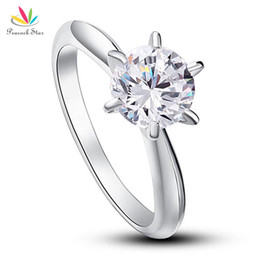 Wholesale Peacock Claws - Peacock Star 6 Claws Wedding Promise Engagement Ring Solitaire Solid 925 Sterling Silver Jewelry 1.25 Ct Created Diamond CFR8002