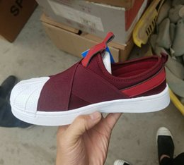 Wholesale Red Head Bands - Best Qualilty Summer SUPERSTAR SLIP ON Sandals Loafers For Men Women head crossed strap black and white low Tops unisex sneakers 36-44