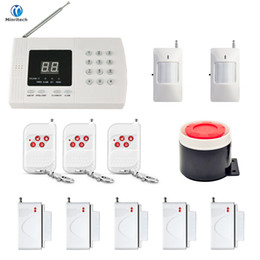 Wholesale Wireless Alarm Security Kit - Minritech Home Security GSM Alarm System Wireless Wired SMS Burglar Voice Alarm System Remote Control Set Arm Disarm KIT