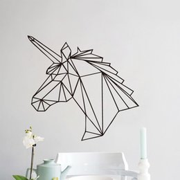 Wholesale Wall Decal Geometric - Geometric Unicorn Wall Sticker Removable Horse Head Vinyl Decals Home Decor For Kids Rooms Decoration New Design DIY