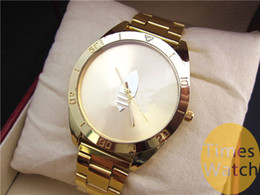 Wholesale Logo Brand Watch - High Quality Famous Brand Fashion Gold Watch New Arrival Ad Clover LOGO Quartz Sports Relojes Ladies Mens Dress Gold Wrist Watches