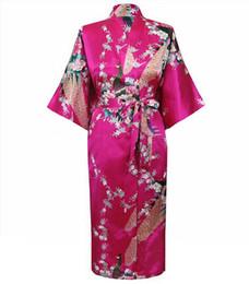 Abiti da sera femminili online-Plus Size Hot Pink Female Night Robe Vendita calda Lady Faux Silk Kimono Bath Gown Summer Sleepwear Peafowl S M L XL XXL XXXL S0034