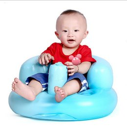 Wholesale Portable Feeding Chair - Wholesale- Portable Children Seat Inflatable Baby Chair Bath Room Stools Kids Feeding Learn To Sit Play Games Bath Sofa Great Helper Gifts